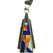 Sterling Silver Pendant with Stone on Metal Inlay