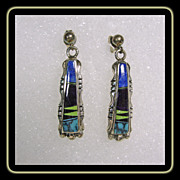 Sterling Silver Earrings with Stone on Stone Inlay