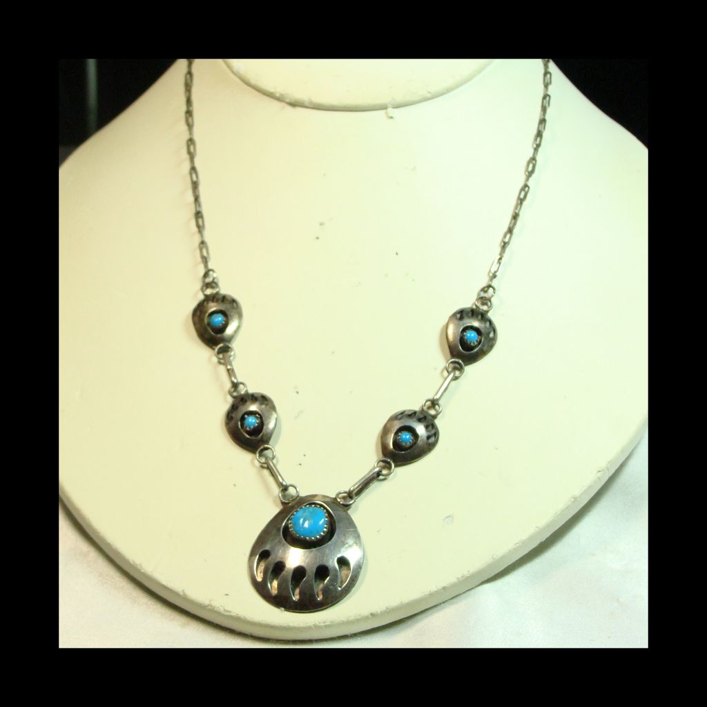 Bear Paw Sterling and Turquoise Necklace