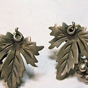 Mexican Sterling Silver Leaf and Berry Design Earrings