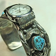 Native American Sterling Silver Watch with Coral and Turquoise