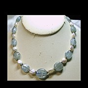 Ocean Green Kyanite and Freshwater Coin Pearl Necklace with Sterling