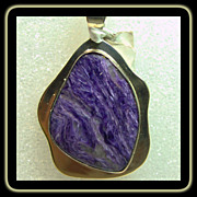 SOLD Reserved for Barbara Navajo Russian Charoite and Sterling Silver Pendant