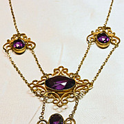 Victorian Festoon Style Necklace In Gold over Brass with Amethyst Color Stones