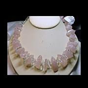 SOLD Natural Rose Quartz Necklace with White Quartz Accent Stones