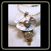 SOLD Mabe Blister Pearl and Citrine Sterling Silver Pendant on Freshwater Pearl Necklace