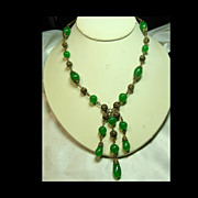 1930s Brass Filigree Necklace with  Deep Jade Green Glass Beads