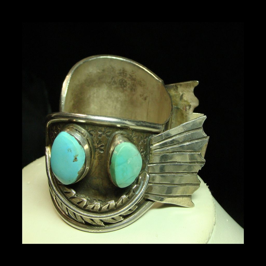 Sterling Silver  Watch Cuff with 4 Pieces of Turquoise