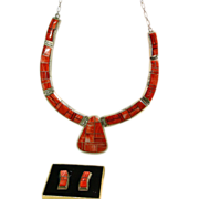 Alvin Yellowhorse Sterling Silver with Spiny Oyster Inlay Necklace and Earrings