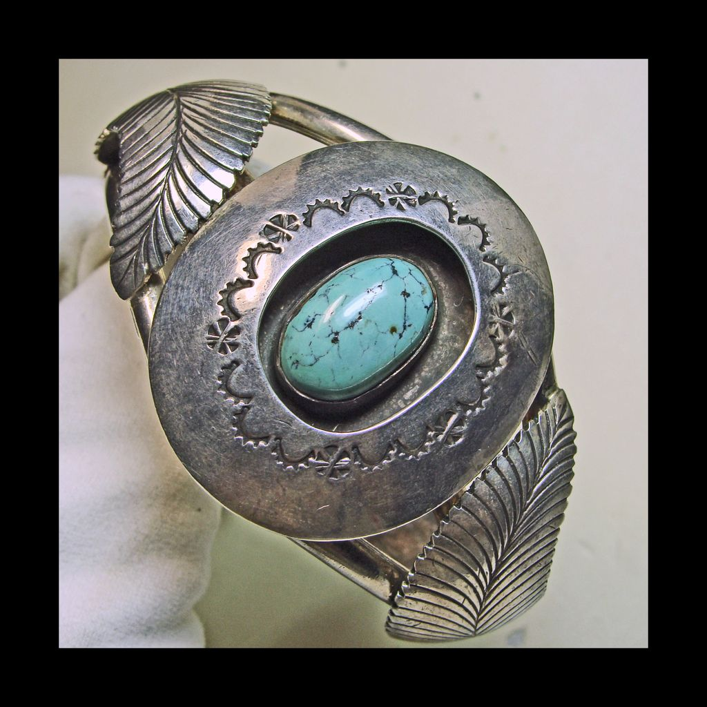 Kingman Turquoise and Sterling Silver Cuff Bracelet with Silver Overlay