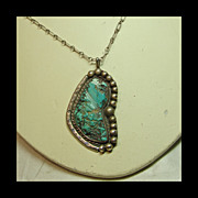 SALE Large Pendant with Blue Green Turquoise Nugget in Sterling Silver on Sterling Chain