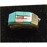 Sterling Silver Band Ring with MOP, Turquoise and Red Coral Inlay