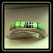 Sterling Silver Band Style Ring with Gaspeite and Onyx Inlay