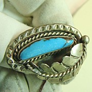 Native American Sterling  Ring with Bisbee Turquoise
