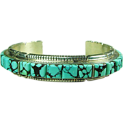 Sterling Silver Narrow Cuff Bracelet with Turquoise Inlay and Notched Edges