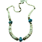Shell Heishi and Turquoise Nugget Necklace