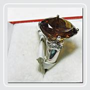 Deep Cognac Quartz in a Heavy Sterling Silver Ring