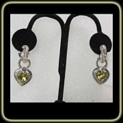 Sterling Silver Hoop Earrings with Removable Heart Shape Charm