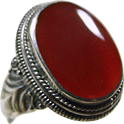 Sterling Silver Carnelian Signet Style Ring