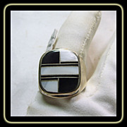 Sterling Silver Signet Shape ring with Onyx and MOP Inlay