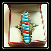 Sterling , Turquoise and Coral Corn Row Ring