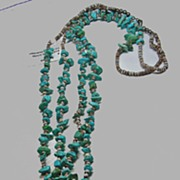 Double Strand of Turquoise Nuggets and Shell Heishi