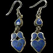 Denim  Lapis Heart Chandelier Earrings