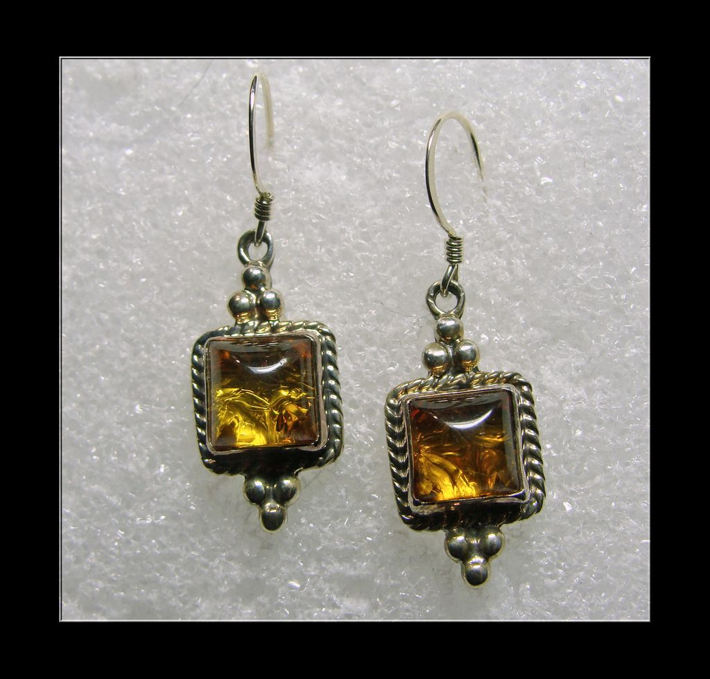 Southwestern Amber and Sterling Silver Earrings