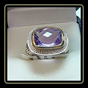 Amethyst and White Sapphire Sterling Silver Ring