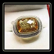 Sterling Silver and Golden Yellow Citrine Signet Style Ring