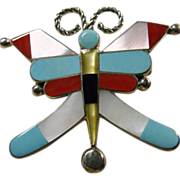Zuni Sterling Silver Butterfly Pin/Pendant with Multiple Color Inlay Decoration