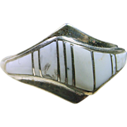 Sterling Silver Band Style Ring with White Buffalo Inlay