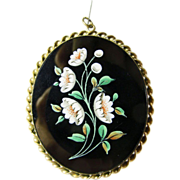 Victorian Hand Painted Floral Pendant
