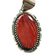 Sterling Silver Spiny Oyster Pendant by Larry Moses Yazzie