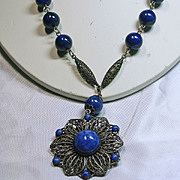 1930s Faux Denim Lapis and Filigree Necklace