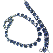 1950s Blue Crystal  Necklace and Bracelet