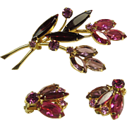 SALE Costume Jewelry Sale ***Broach and Earrings Set Decorated with Hot Pink, lavender and red