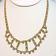Delicate Yellow Crystal Festoon Style Necklace