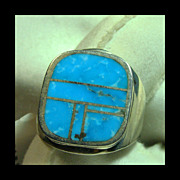 Sterling Silver Ring with Blue Green Turquoise Inlay