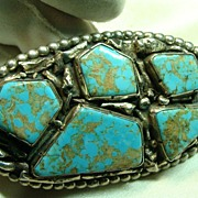 Vintage  Belt Buckle In Sterling Silver with Turquoise Mountain Turquoise