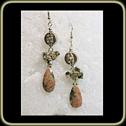 Drop Style Rodonite and Iron Pyrite Sterling Silver Earrings