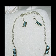 Sterling Necklace and Earrings with Zuni Petit Point Turquoise