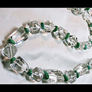 SOLD Natural Quartz Necklace with Rare Green Sleeping Beauty Turquoise