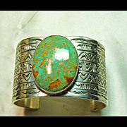 SOLD Nevada Turquoise in a Sterling Silver Cuff  Bracelet with 7 Rows of Hand Stamped Design