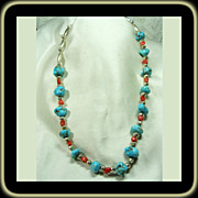 SOLD Turquoise Nugget Necklace with Coral and Sterling Bench Beads
