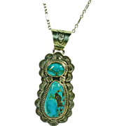King Manassa Turquoise Pendant on Sterling Silver Chain