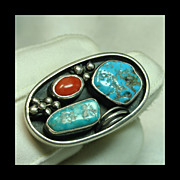 Large Oval Sterling Silver Ting with Turquoise and Coral