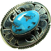 Sterling Silver and Turquoise Ring by Eugene Belone