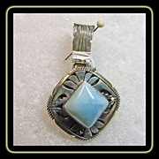 Navajo Sterling Silver Pendant with Princess Cut Larimar