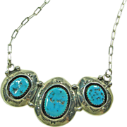 Sterling Silver Necklace with Triple Shadowbox Pendant
